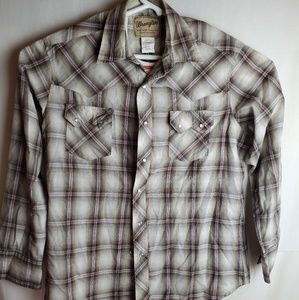 Men's Wrangler Western Brown/RedPlaid Pearl Snap L